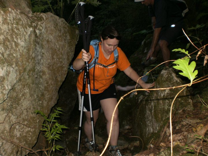 Me hiking through a rock quarry in August 2010 with my Meetup friends.