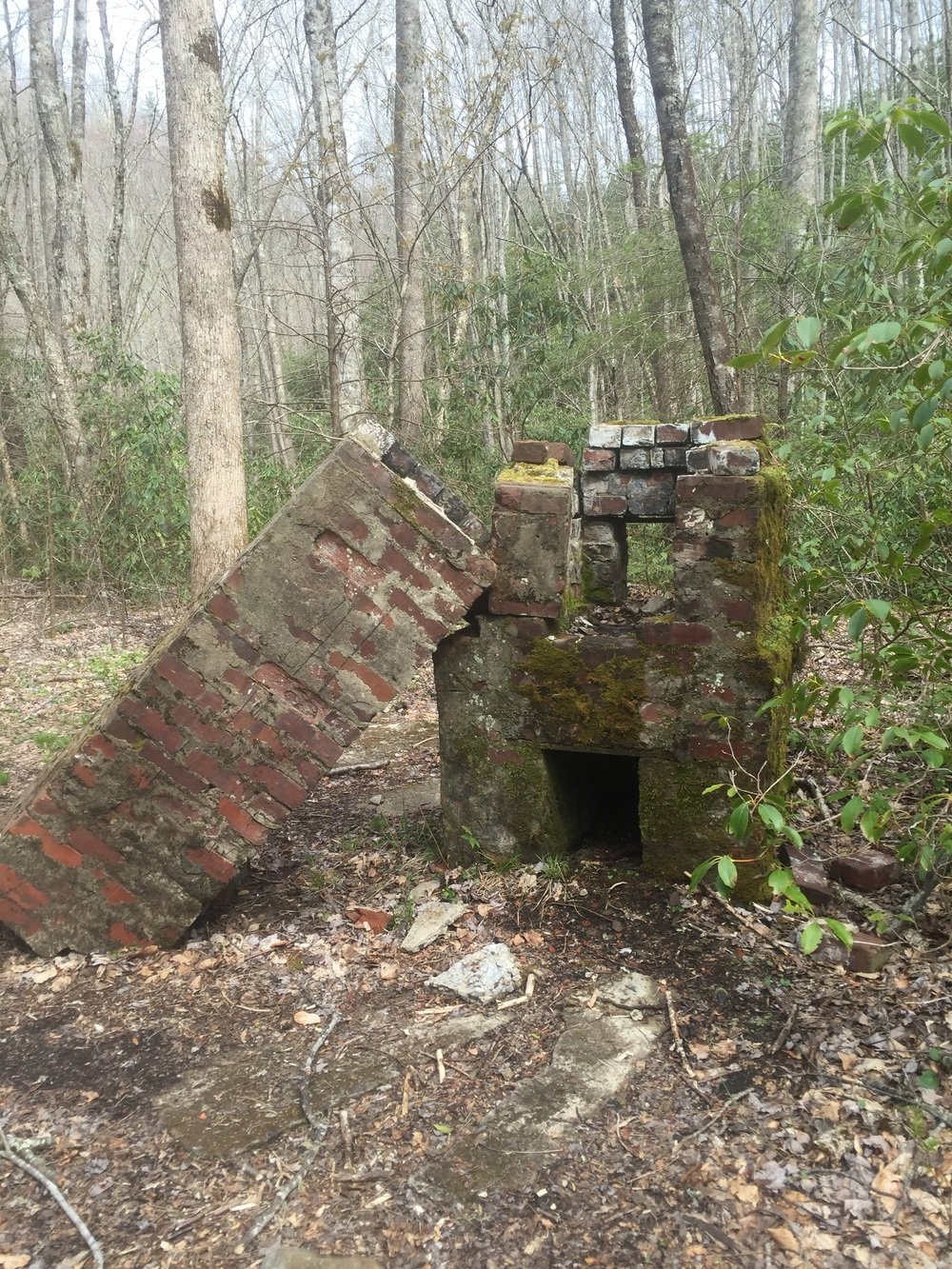 The fallen chimney of the CCC camp.