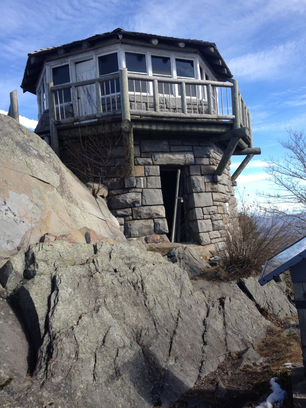 Mt. Cammerer's Fire Tower is a unique shape and built right into the rocks with a cistern built in below.  I've never been in another tower like this one!