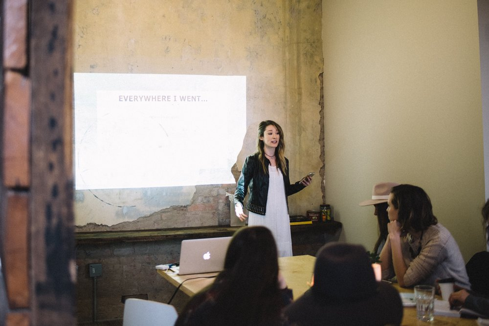 Speaking at the bravery board spring 2017 | Photo by jenn fortner