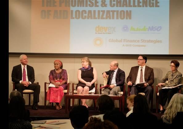 Panelists (L-R) Carlos Carrazana, Karen Sichinga, Linn Dorin, Raj Kumar, Ariel Pablos-Méndez and Elizabeth Warfield speak about the operational realities of aid localization.