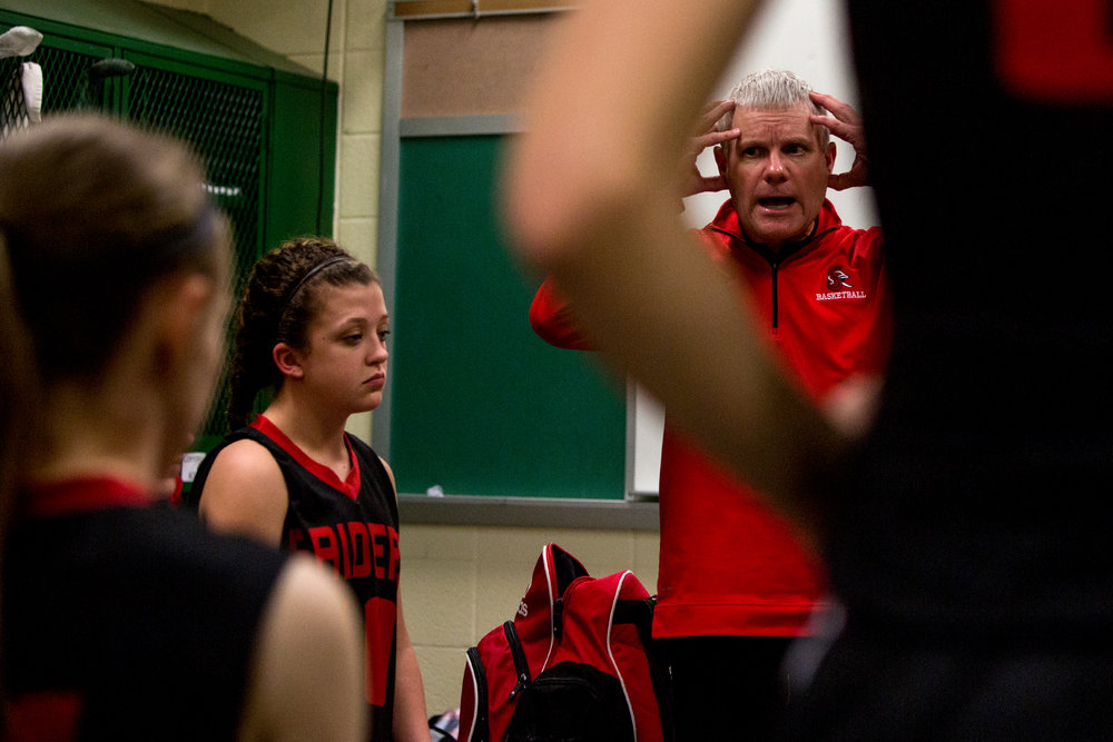 Southridge coach Steve Rust reminded his team to stay focused and keep pushing at halftime during Friday night's Class 3A girls basketball sectionalin Vincennes. Southridge lost 49-32.