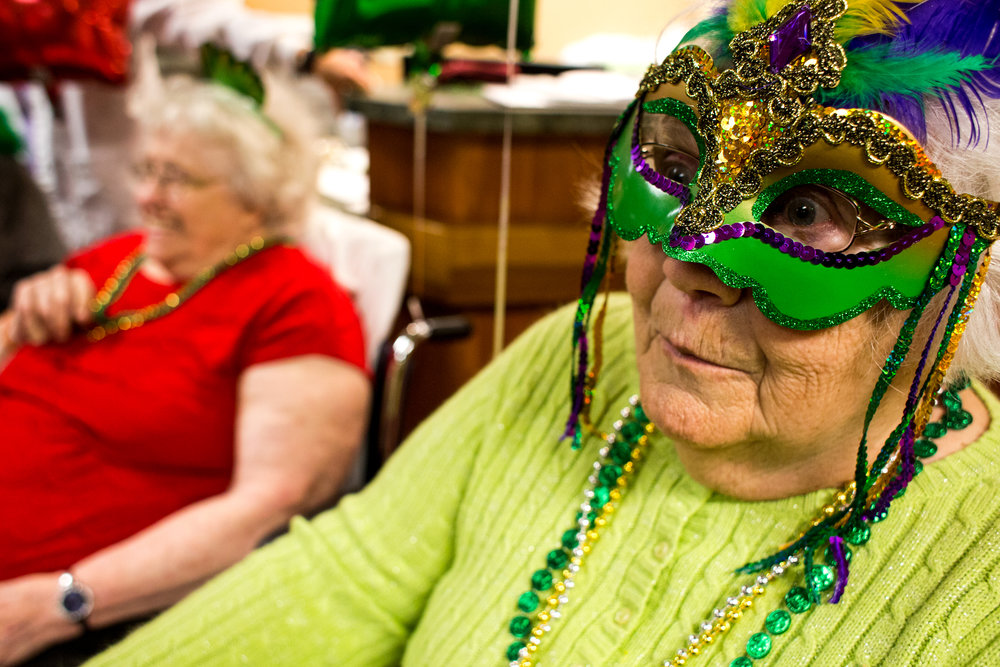 St. Charles Health Campus resident Martha Howard answered trivia questions during a Mardi Gras celebration on Tuesday afternoon.