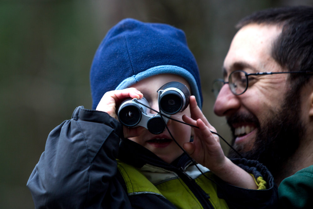 William Schemenauer of Ferdinand, 2, looked through his binoculars while his father, Kevin, carried him during the Cabin Fever Hike on Saturday at Ferdinand State Forest. DC Multisport coordinated the free hikes, and participants were asked to donate a non-perishable food item for the Dubois County Food Bank. The event attracted an estimated 150 people.