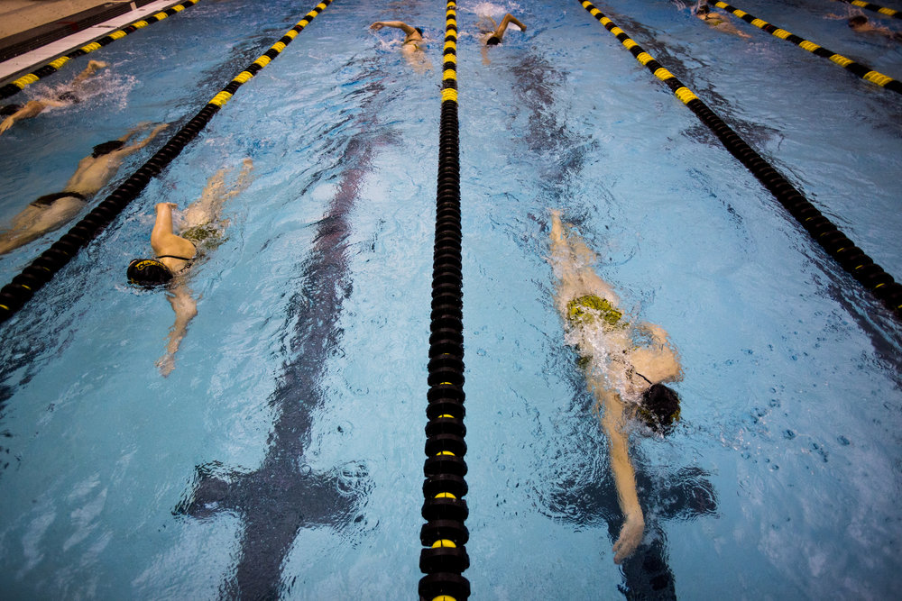 Jasper swimmers warmed-up before competing against Southridge in the swim meet at Jasper High School on Tuesday.