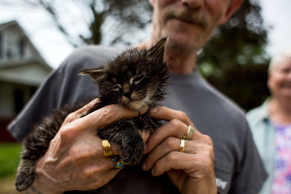 "Jimmy Fulkerson of Huntingburg rubbed 8-week-old kitten, Bandit, outside the home of his neighbor, Tina Dearing, on Saturday in Huntingburg. The neighbor experienced flooding after Friday night's storm that carried into Saturday. ""It looked like a raging river,"" Fulkerson's wife, Peggy, said when she looked at the street outside their home."