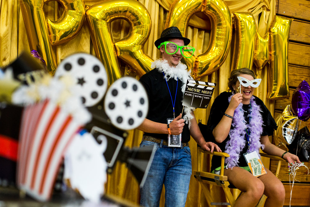 Northeast Dubois High School senior Bailey Hopf, right, and her date, Forest Park graduate Chance Hasenour, posed for a photo during the Northeast Dubois post-prom party Saturday night. Juniors and seniors gathered with their guests in the high school gym to enjoy the Hollywood-themed events, games and refreshments.