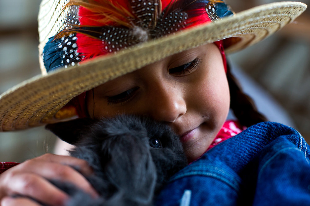 Teagan Ramos of Jasper, 5, snuggled with a bunny during Tri-Cap's Head Start preschool program Wednesday at the Dubois County 4-H Fairgrounds in Bretzville. The farm-themed event allowed children to enjoy live music, pet farm animals and participate in a variety of activities with their families. The theme of this year's program was Planting & Growing A Bright Future.