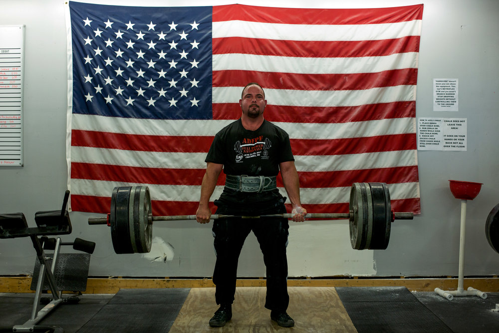 St. Clair of Birdseye deadlifted 500 pounds while training at Total Hardcore Environment Gym in Ferdinand on Monday. St. Clair set a new world record recently, squatting 614 pounds during the national competition of the American Drug-Free Powerlifting Federation on Sunday. St. Clair is training to compete in the ADFPF world competition in Rockland, Massachusetts, this November.