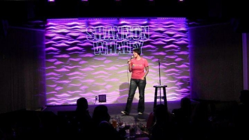 Performing stand-up comedy in July 2011 at The Parlor Live in Bellevue, WA.