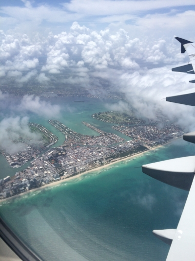 Flying out of Miami, Florida on my way to Venice, Italy.