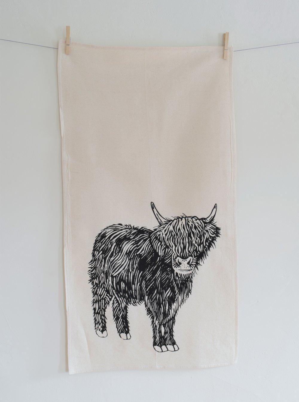 organic cow tea towel