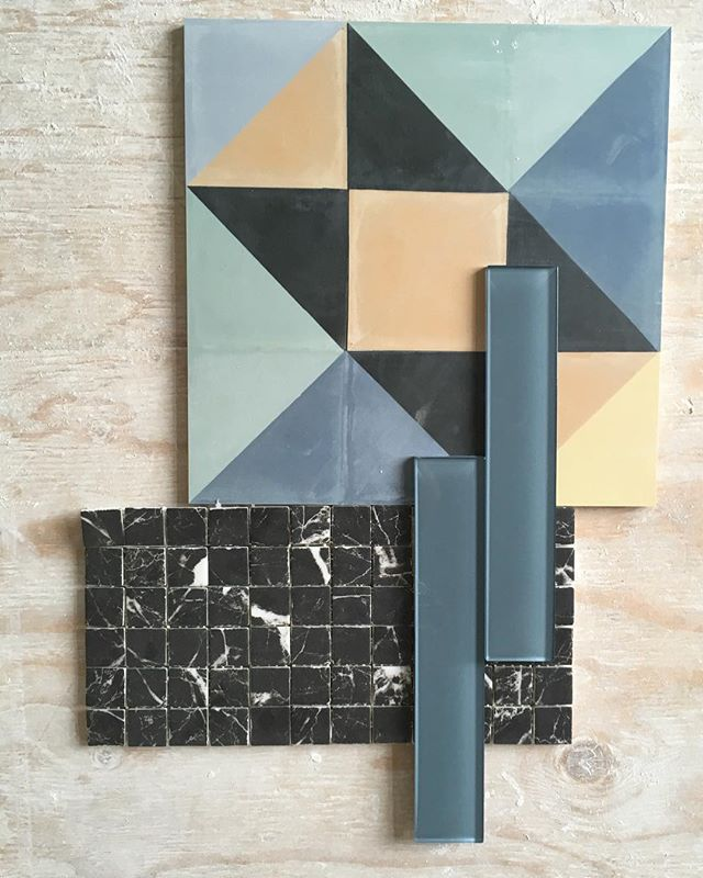 Just on site at our #Beatrice project making sure all tile is accounted for, and can't wait to see this combination in the 3rd storey kids loft bathroom! • #tile #colour #geometric #construction #toronto #hextile #kidsbathroom #inspiration