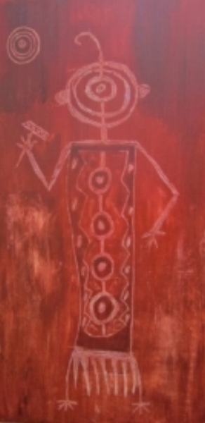 "Petroglyph 1  c Kristin Helberg 2015  12"" x 24"" acrylic on canvas"