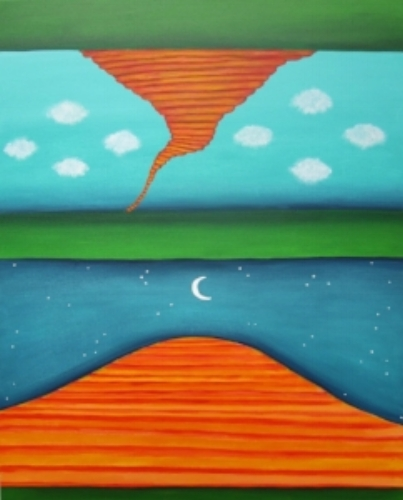 "Parallel Universe  c Kristin Helberg 2015 acrylics on canvas 24"" x 30"""