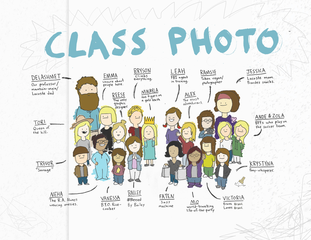 Here's a picture of our class that I drew to give you a snapshot of everyone's personality.