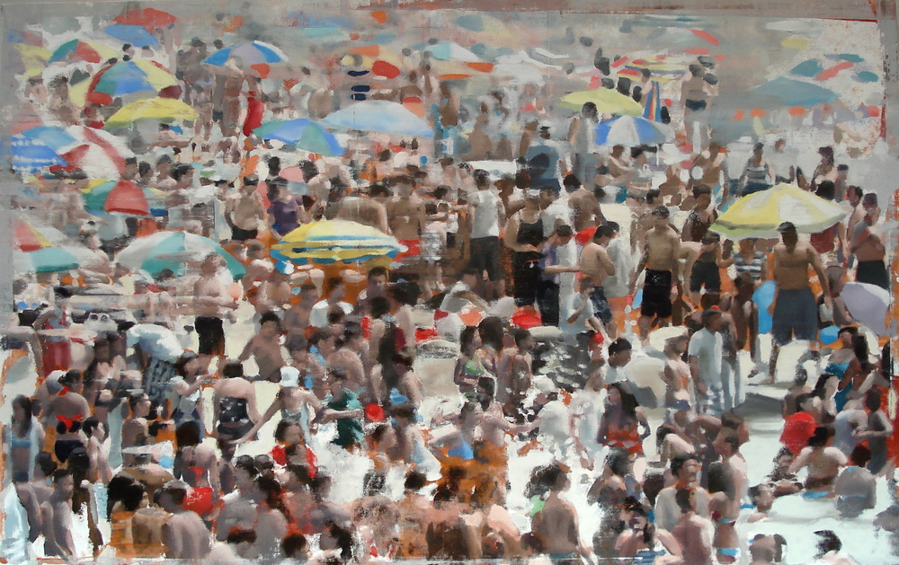 "Beach Crowd, Oil on Linen on Panel, 2012, 48"" x 76"""