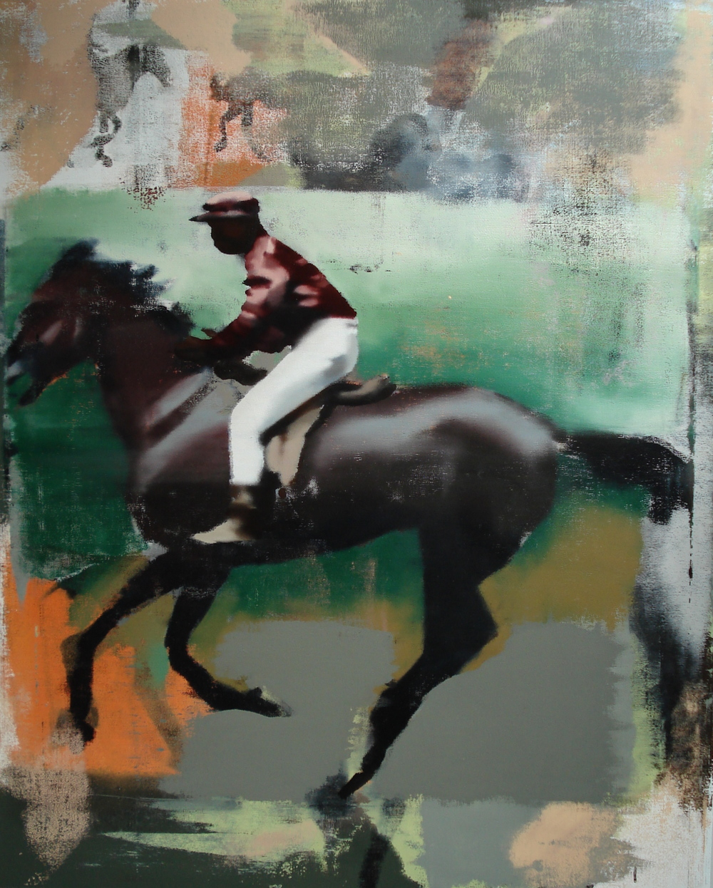 "Green Stride, Oil on Linen on Panel, 2011, 60"" x 48"""