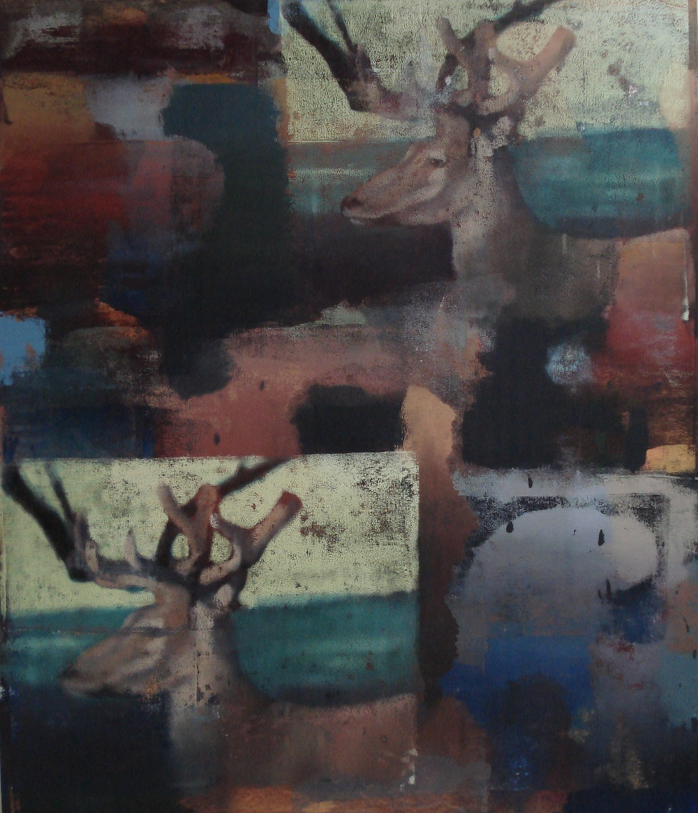 "Stag, Fall, Oil on Linen on Panel, 2008, 80"" x 68"""