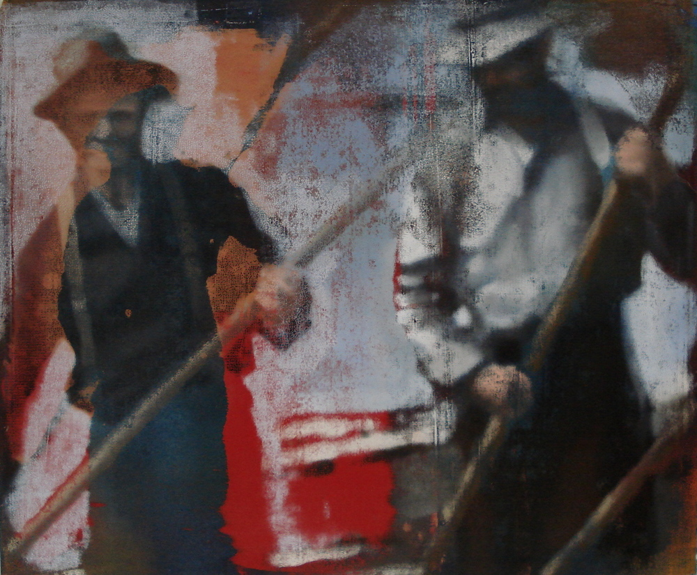"Three Men with Red, Oil on Linen on Panel, 2008, 40"" x 48"""