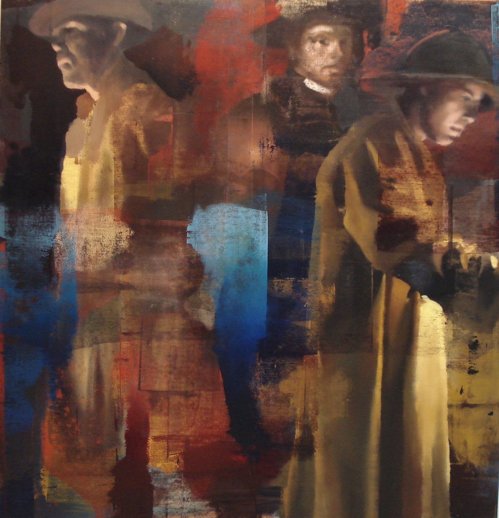 "In the Mines, Oil on Linen on Panel, 2009, Triptych (78"" x 108""), Left panel"