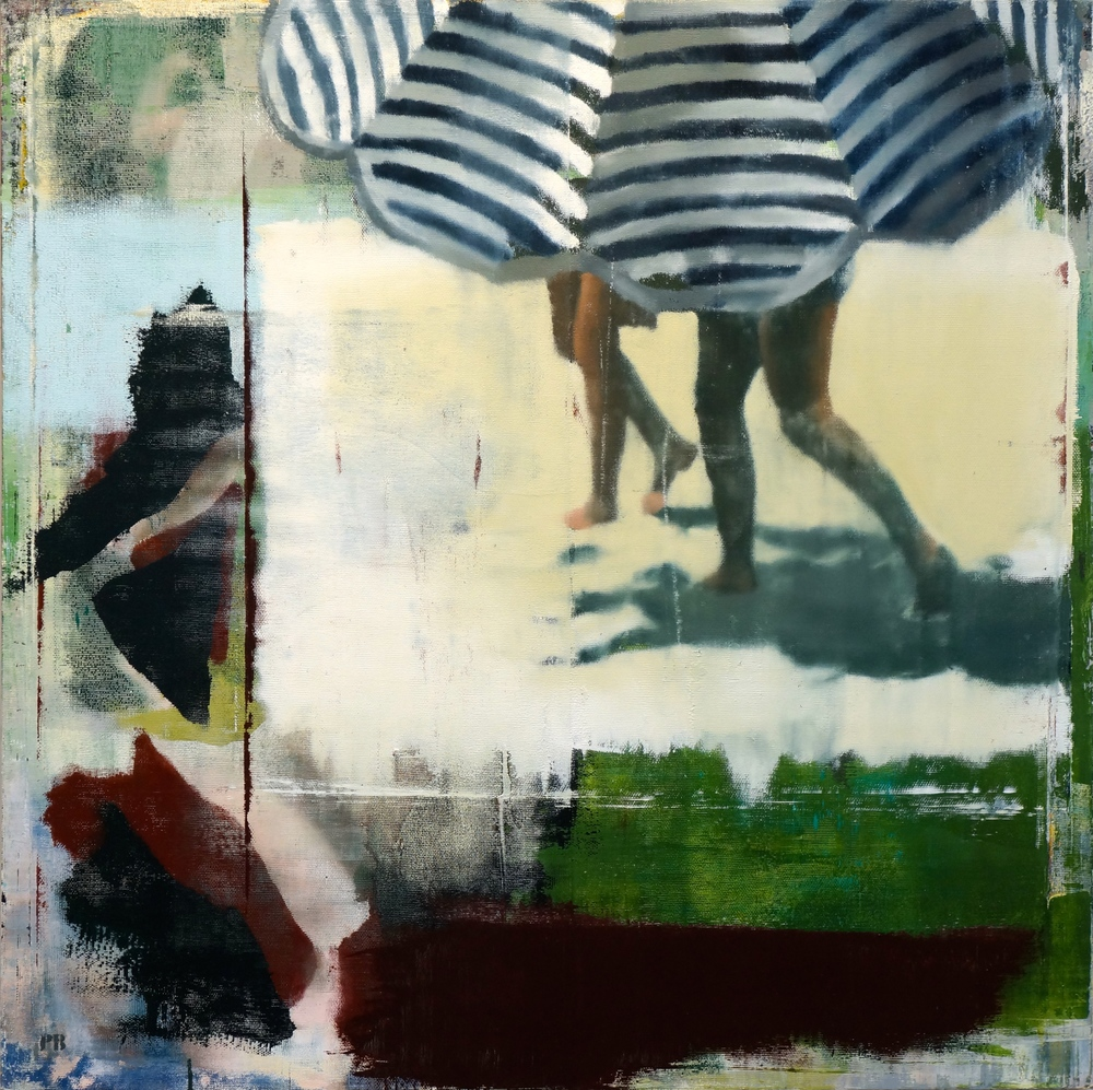 "Striped Umbrella, Oil on Linen on Panel, 2014, 48"" x 48"""