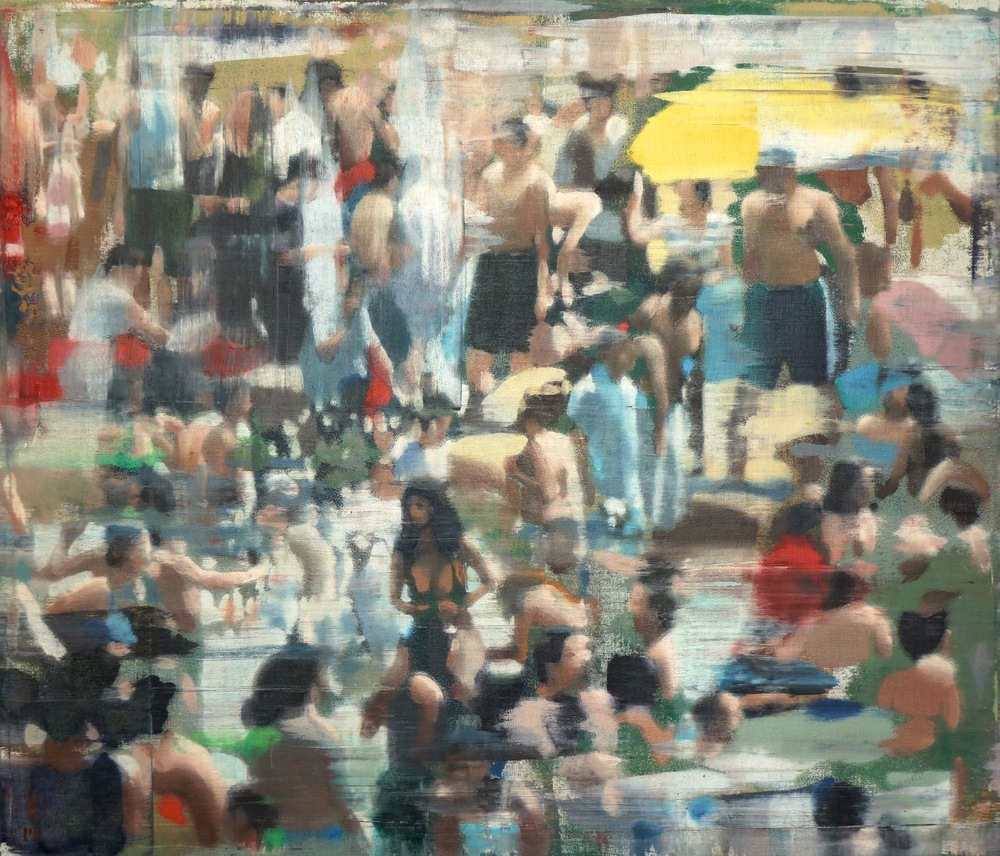 "Busy Beach, Oil on Linen on Panel, 2015, 48"" x 56"""