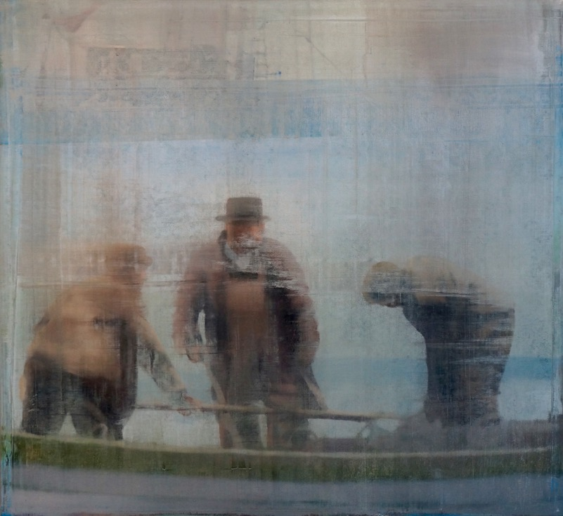 "Three Workers, Oil on Linen on Panel, 2015, 48"" x 52"""