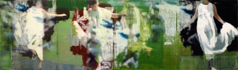 """Jump, Oil on Linen on Panel, 2014, 30"""" x 100"""""""