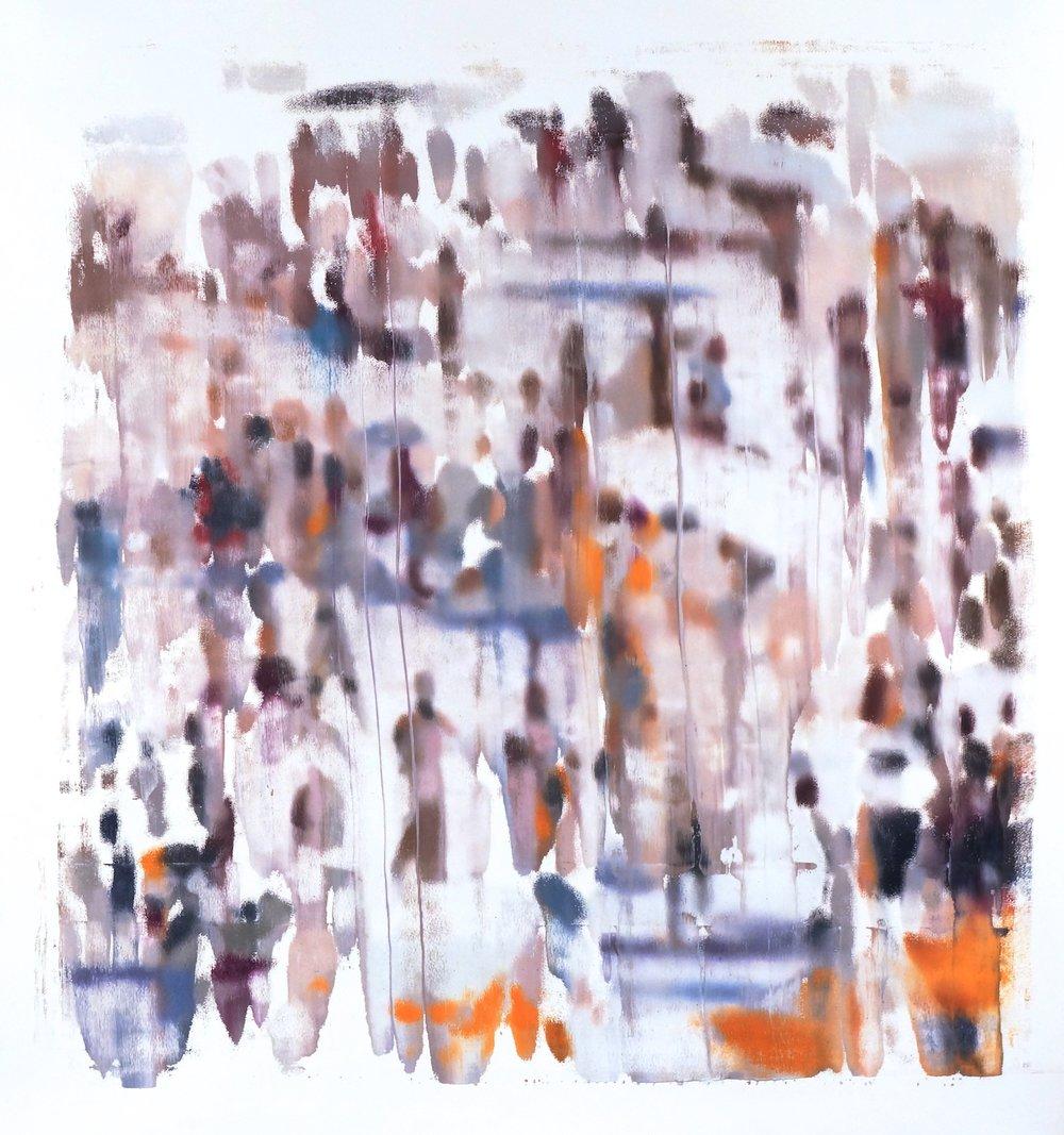 Buller I 2017 I Blurred Crowd #2 - Vertical I 51x48 OD I Oil on Resin Paper
