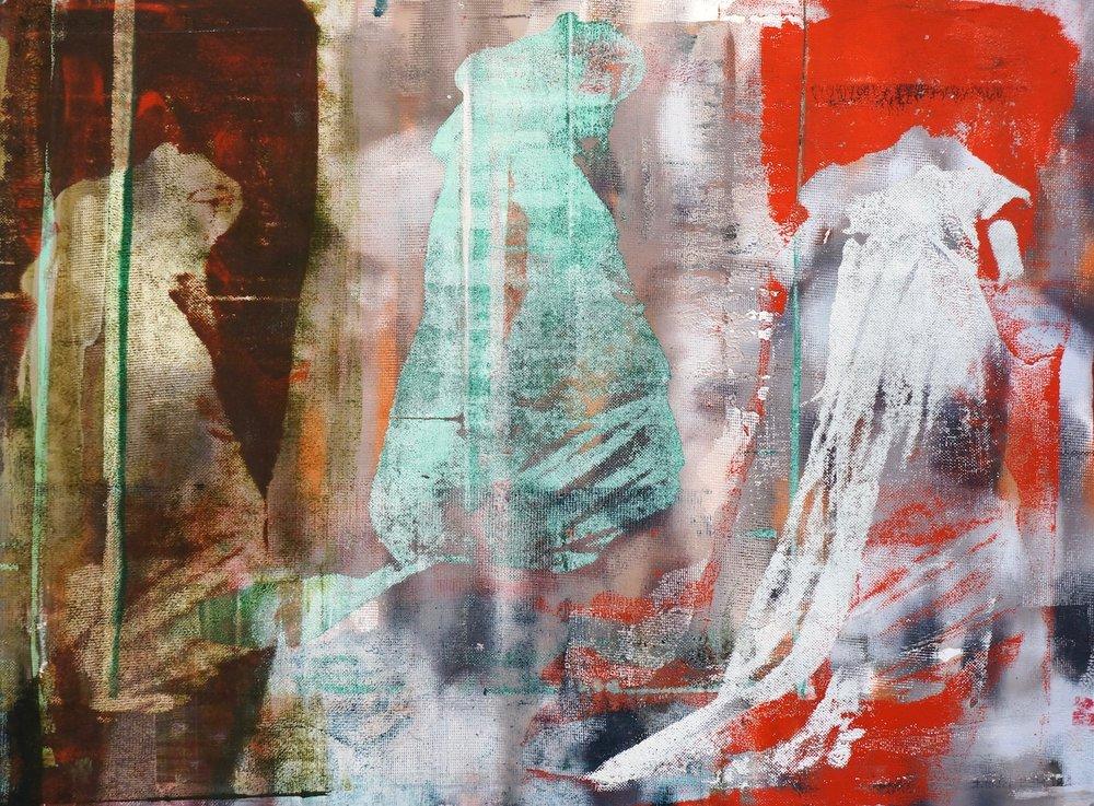 Buller I 2017 I Three Gowns I 22x30 OD I Oil on Resin Paper