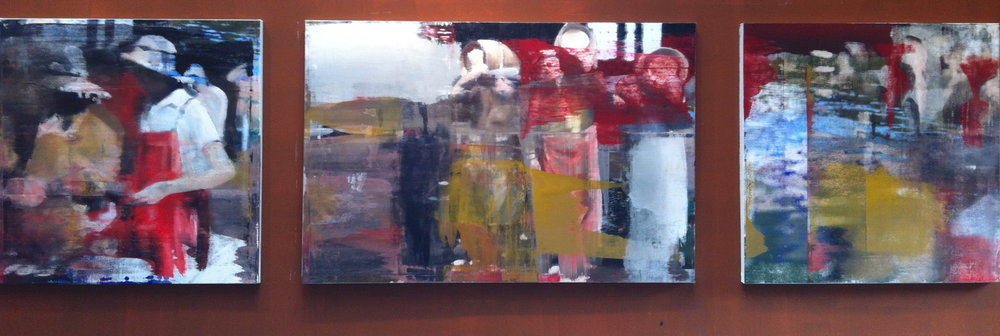 "4. Moving the Barrels, Oil on Linen on Panel, 2013, 48"" X 168"""