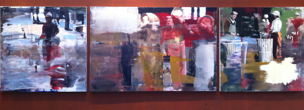 "5. Moving the Barrels, Oil on Linen on Panel, 2013, 48"" X 168"""
