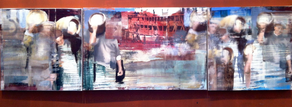 "14. Moving the Barrels, Oil on Linen on Panel, 2013, 48"" X 168"""
