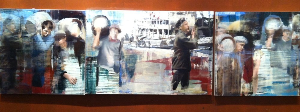 "19. Moving the Barrels, Oil on Linen on Panel, 2013, 48"" X 168"""