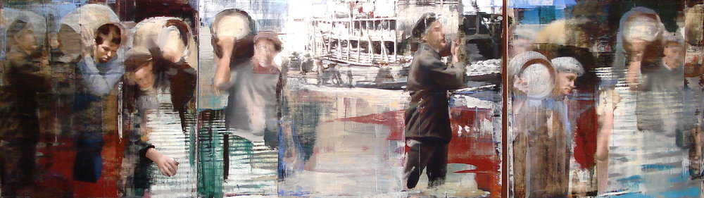 "18. Moving the Barrels, Oil on Linen on Panel, 2013, 48"" X 168"""