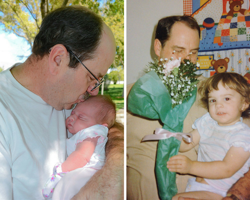 My dad and my little one (left photo) My dad and me (right photo)