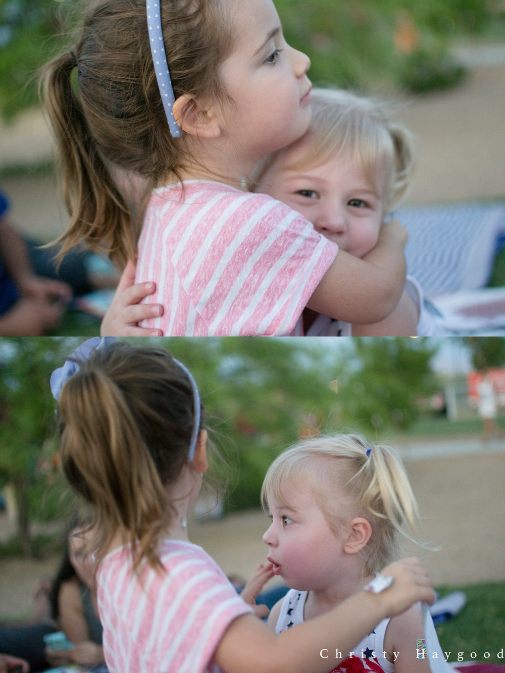 The girls sharing a sweet hug.....only to be surprised by some early fireworks.