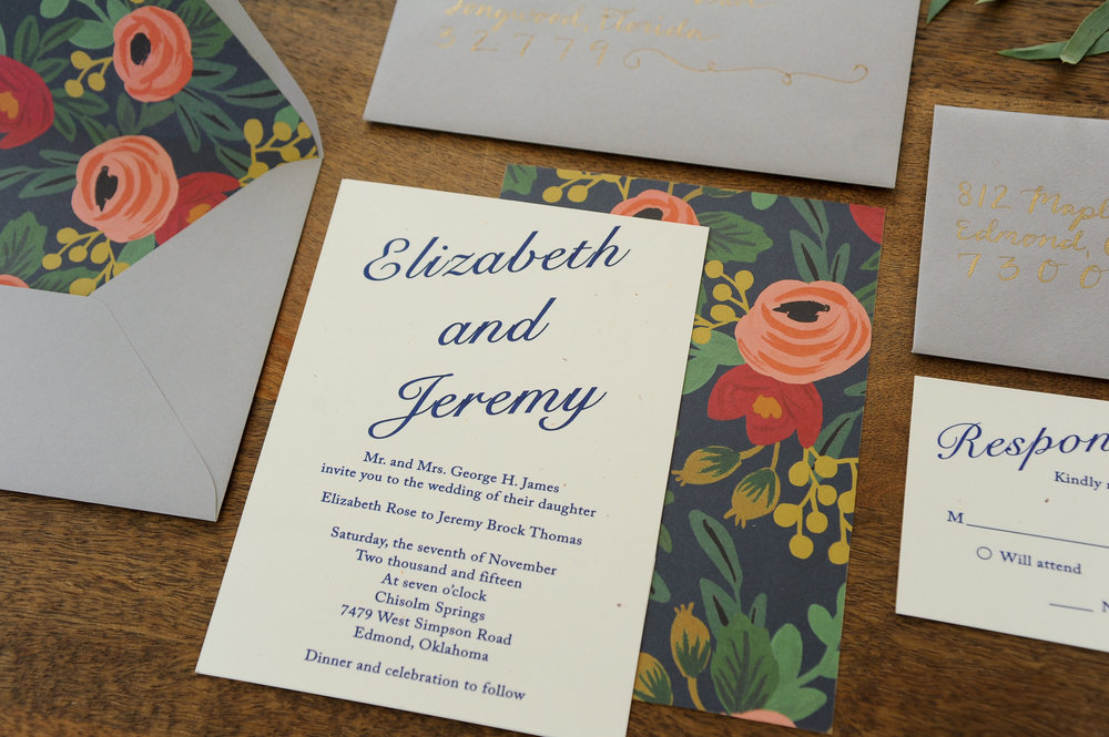 Modern Wedding Invitation Suite with Rifle Paper Co. Inserts and Backing  Photo by Erin Goodrich Photography