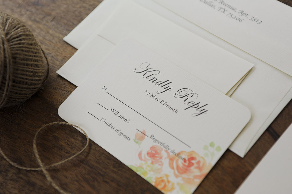 Even the reply card was designed with care matching the invitation.