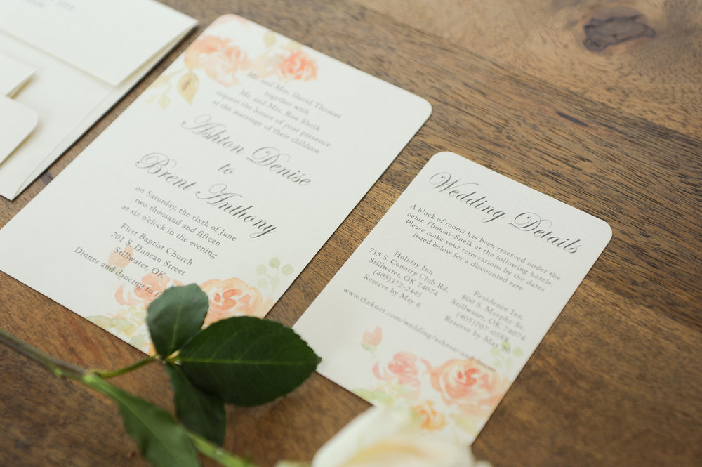 Ashton and Brent opted to have a wedding detail card to inform their guests of their wedding website and the hotels that were saving special rooms for them the weekend of the celebration.