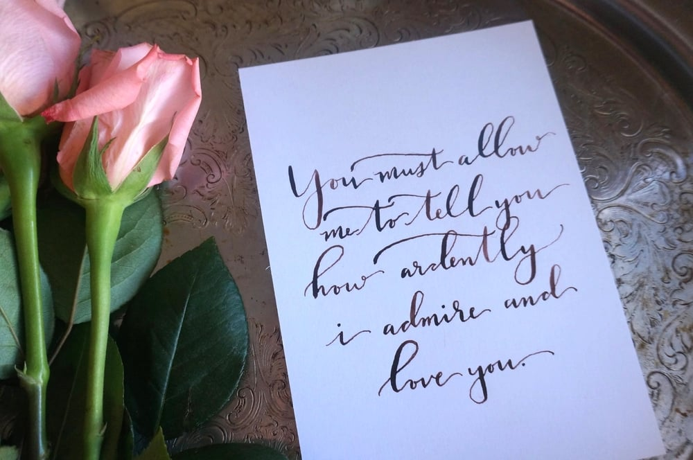 Pride and Prejudice calligraphy quote available in  online shop.
