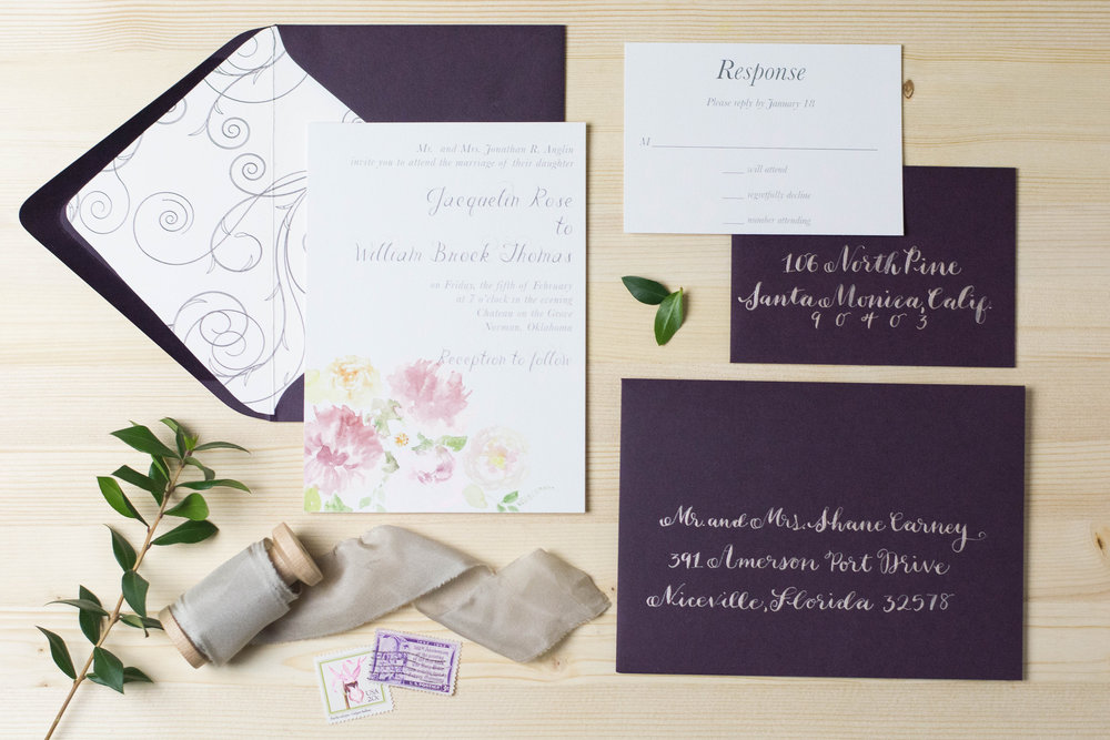 Purple Floral Wedding Invite Suite