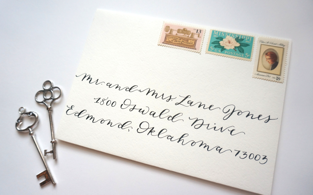 Calligraphy envelope addressing written in black ink.
