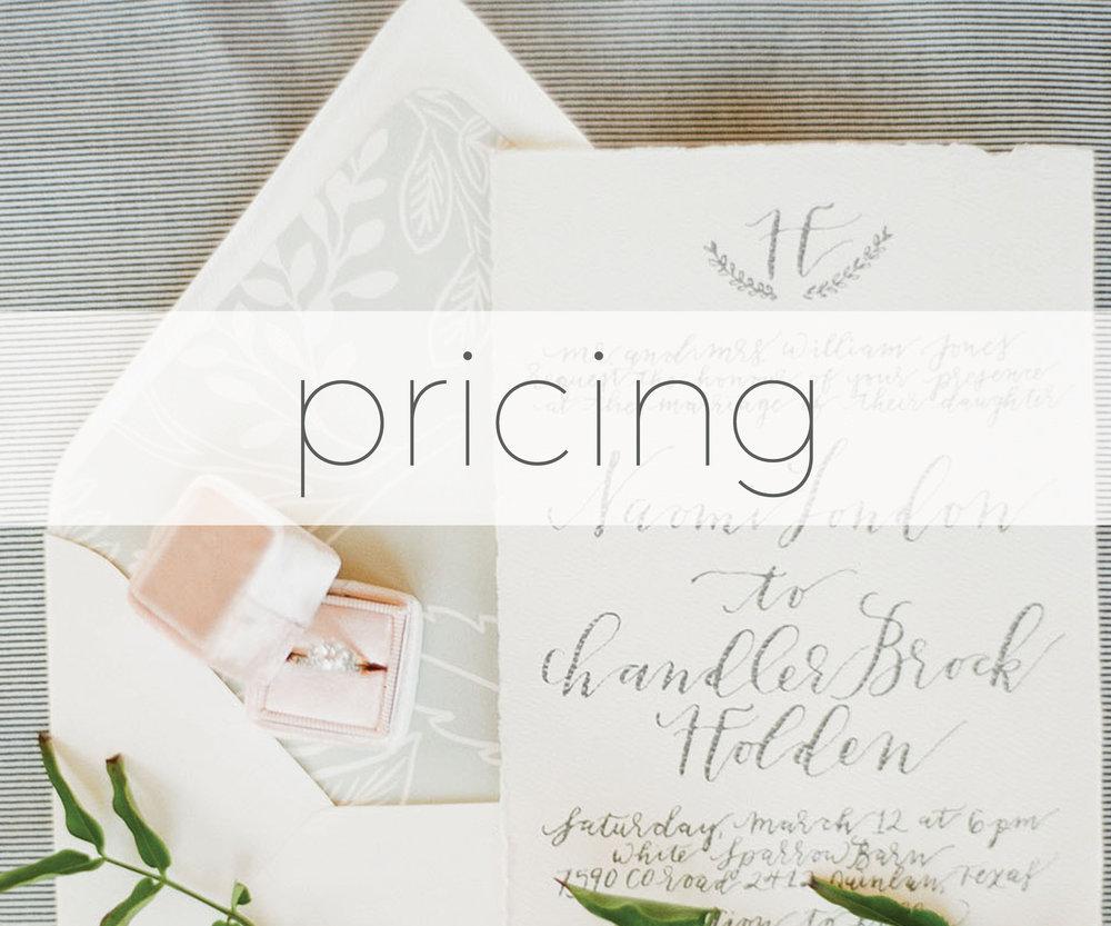 Calligraphy and Wedding Invitation Pricing — Rachel Kathryn Designs