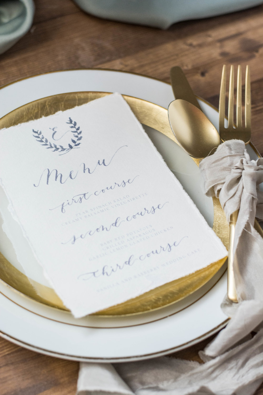 Organic Watercolor and Gray Calligraphy Wedding Menu