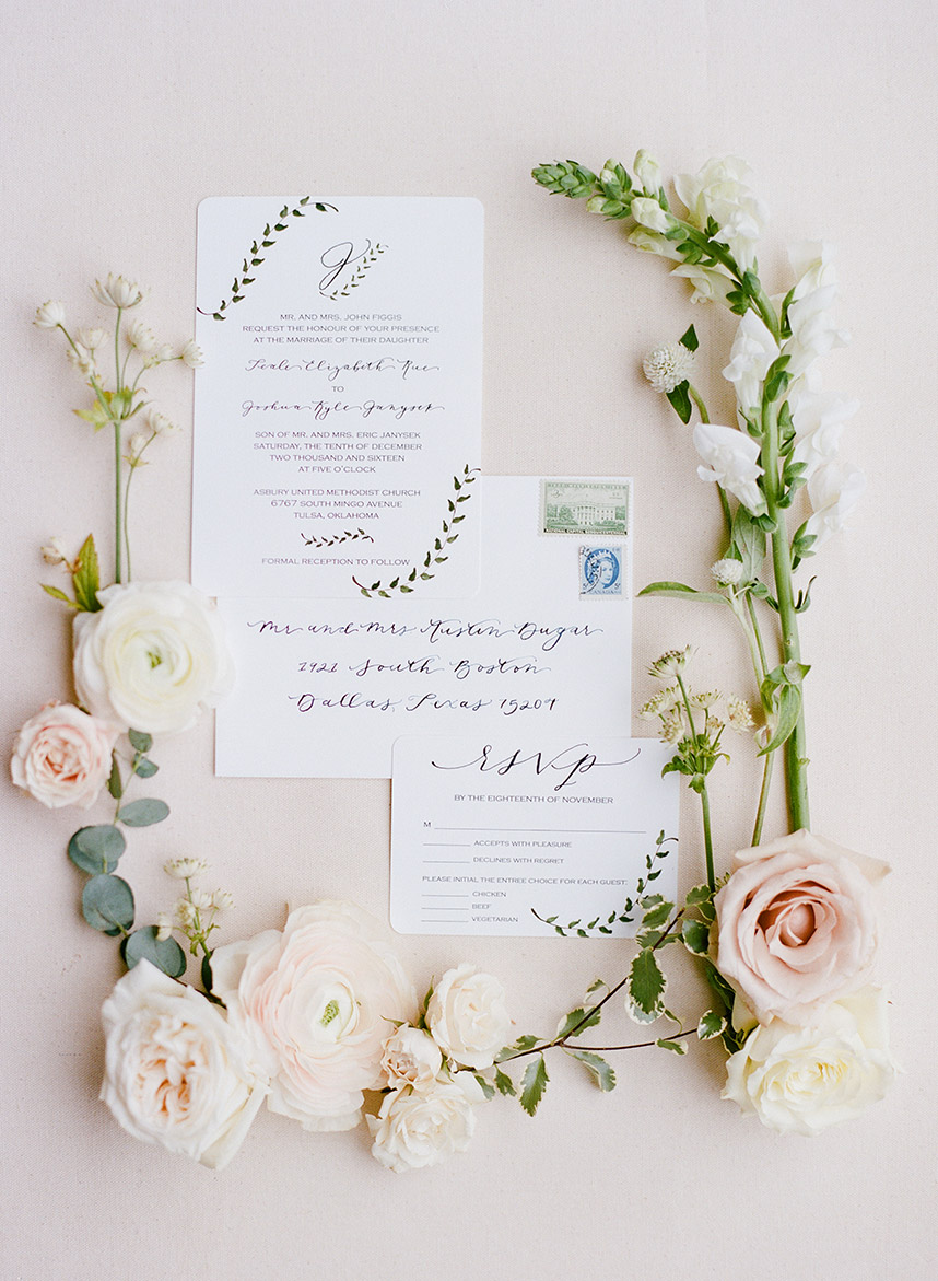 Teale's custom handmade wedding invitation suite. Photo by Amanda Watson Photography.