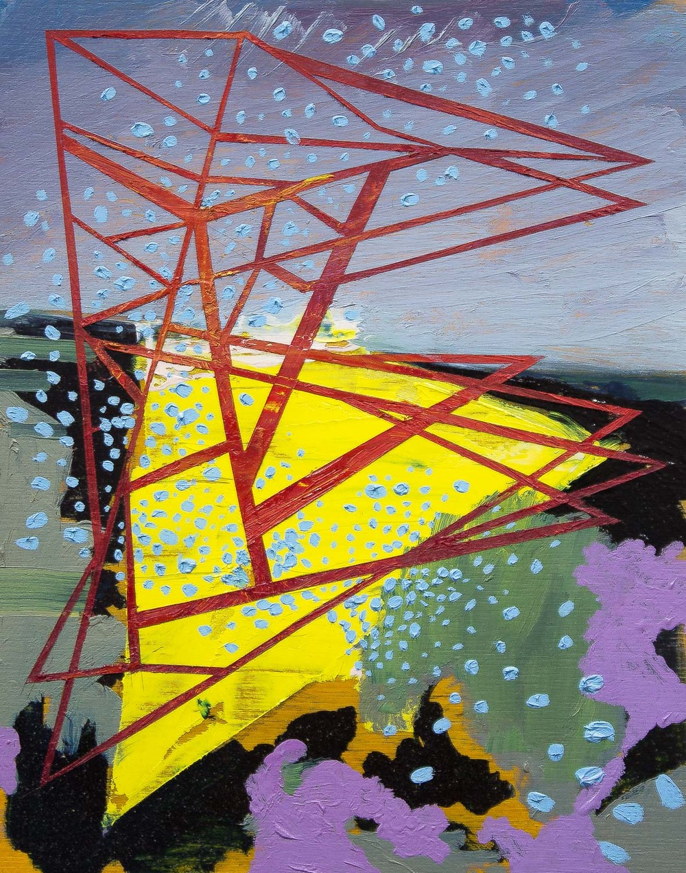 "Yellow Pool , 2016 oil on panel 10 x 8"""