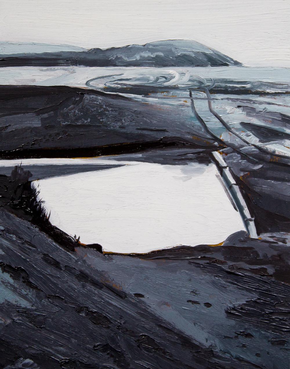 "Reflection, Shipwreck Beach , 2016 oil on panel 10 x 8"""