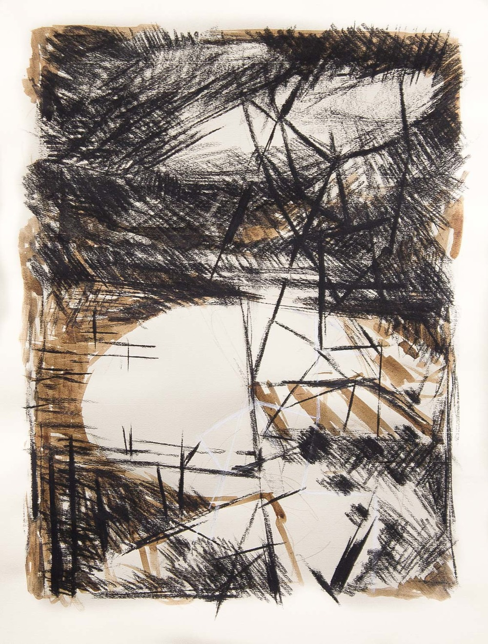 Untitled (Estuary with Scaffold) , 2015 mixed-media on paper 22 x 30""